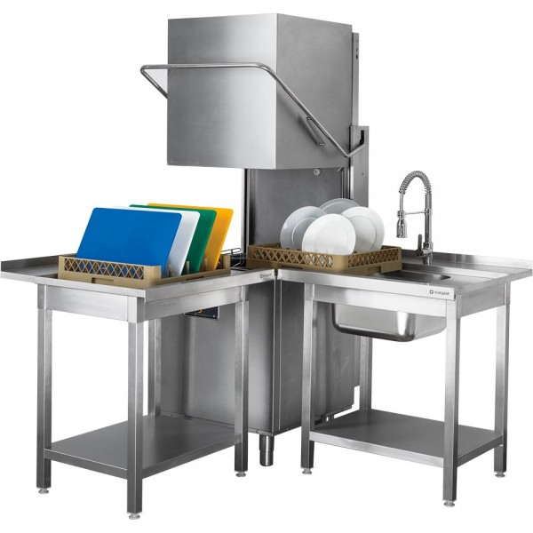 Haubenspülmaschine inkl. Klarspülmittel- und Reinigerdosierpumpe, 400V, 6,8 kW B 690 x T 794 x H 15