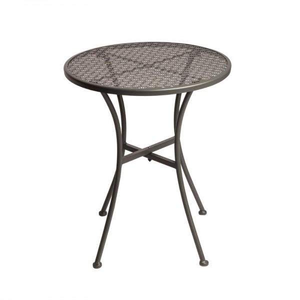 Bolero runder Bistrotisch in schlankem Design Stahl grau 60cm