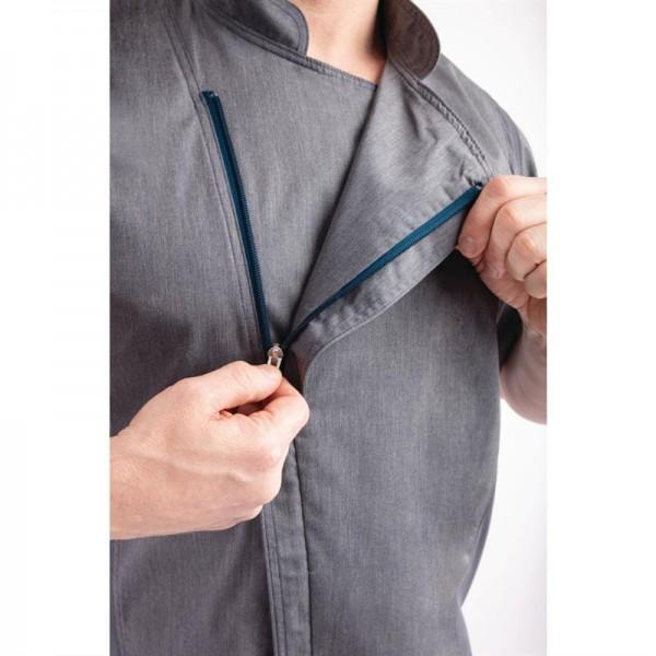 Chef Works Urban Springfield Unisex Kochjacke mit Reißverschluss kurzarm graublau M