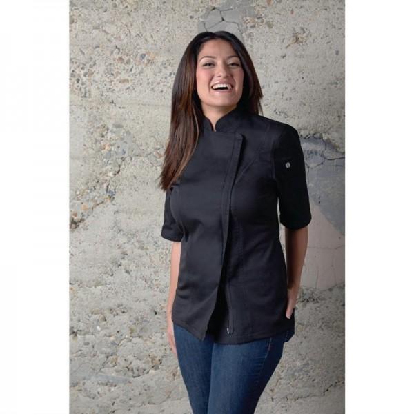 Chef Works Springfield Kurzärmelige Reißverschlusskochjacke Damen schwarz L