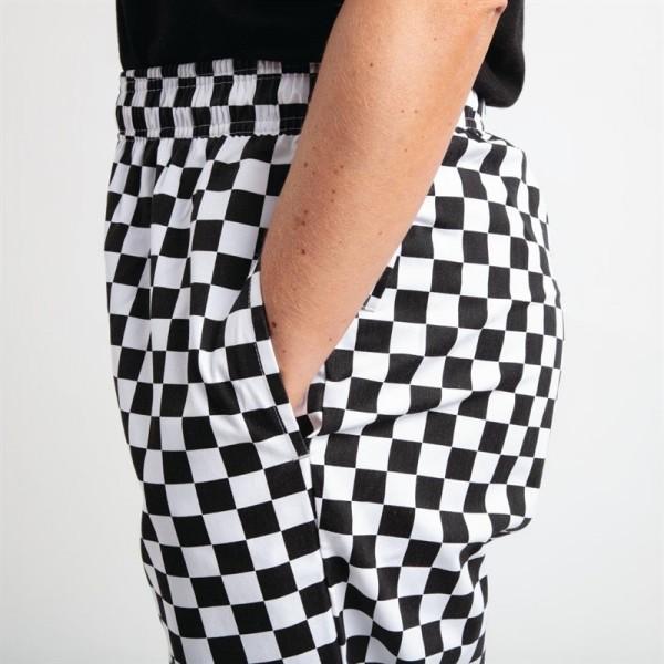 Whites Unisex Kochhose Easyfit schwarz/weiß großkariert XL