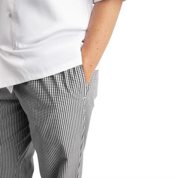 Whites Unisex Kochhose Easyfit schwarz weiß kleinkariert L