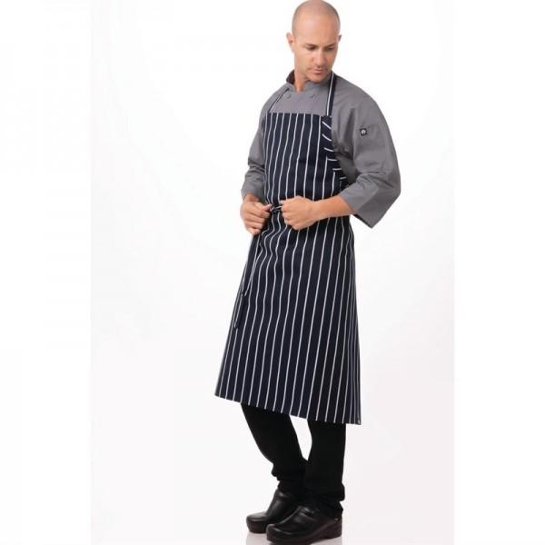 Chef Works Premium Latzschürze marineblau-weiß gestreift